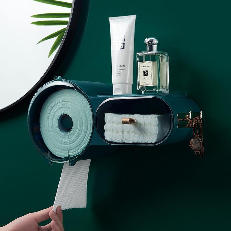 Dfu punchfree selfesparadrapo wallmounted caixa de tecido higiênico à prova dwallágua capa multifuncional organizador armazenamento do banheiro suporte papel