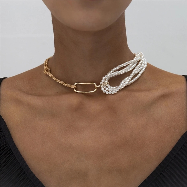 Chunky Thick Twist Chain Necklace  Gothic Multi Layered Imitation Pearl 1