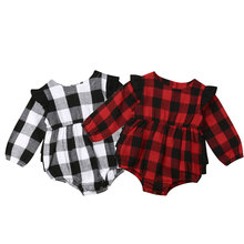 0-18M Infant Newborn Baby Girls Christmas Rompers Red Black Plaid Long Sleeve Ruffles Jumpsuit Xmas Baby Costumes Autumn New