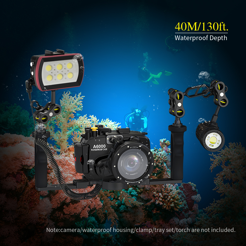 Photography SL 22 LED Diving Light Underwater Fill in Lamp 6LEDs Aluminum Alloy 40M Waterproof with White Lights Max. 6000LM - 6
