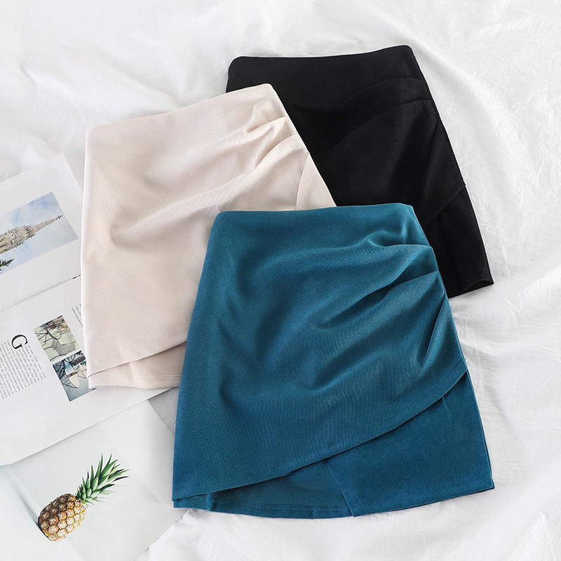 HELIAR Skirts Bodycon A-line Women Pleated MINI Skirts Spring Mini Wide Leg Saches Cargos Skirts 2020 Spring Korean Sexy Skirts
