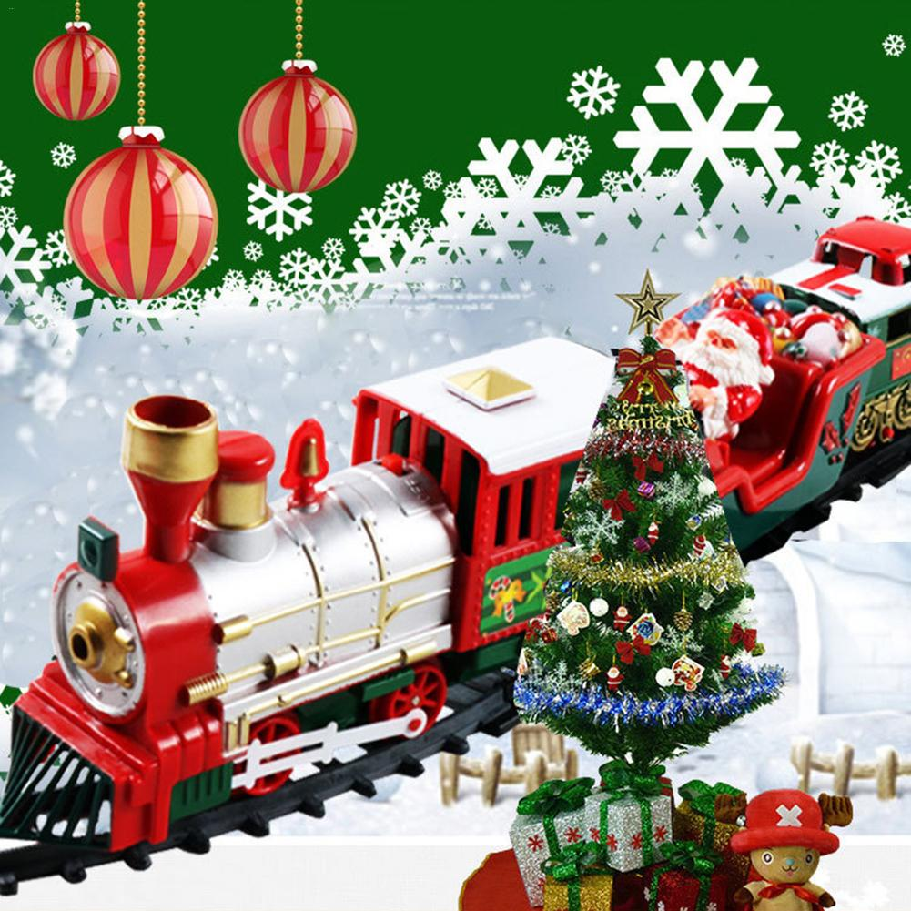 2019 Children Small Train Track Toy Electric Light Music Christmas Train Baby Toys Christmas Decorations For Home Navidad