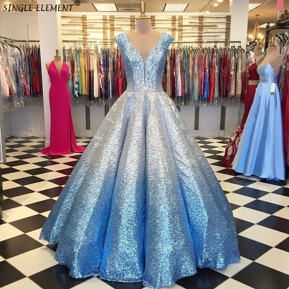Sparkly Ombre Sequin Quinceanera Dresses For 15 Years Masquerade Ball Gowns Off Shoulder Sweet 16 Dress