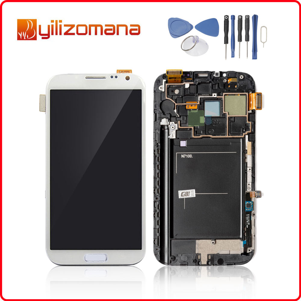 5.5Super AMOLED For SAMSUNG Galaxy Note2 LCD Touch Screen Digitizer For SAMSUNG Note 2 Display N7100 N7105 I317 T889 with Frame image