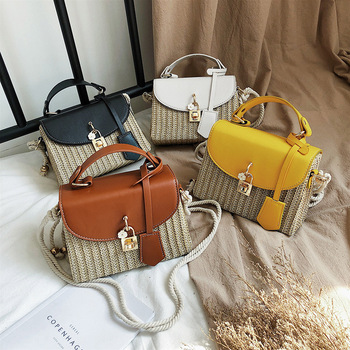 Straw Bags For Women Beach Bags Women Messenger Bag Fashion Female Bag Shoulder Bags For Women 2020 Leisure Small Square Bag leisure straw and sequins design shoulder bag for women