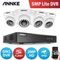 ANNKE 1080P 8CH CCTV Camera DVR System 4pcs IP66 Waterproof 2.0MP HD TVI White Dome Cameras Home Video Surveillance Kit