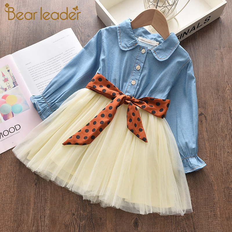 urso lider meninas vestido nova primavera menina vestidos de festa casual jean fio princesa vestido polka