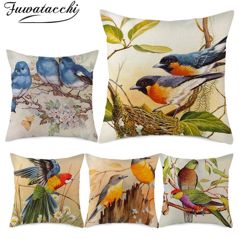 Fuwatacchi Pure Linen Cushion Cover Flora And Fauna Pillow Cover For Home Chair Sofa Decorative Pillowcases Cute Bird Pillows