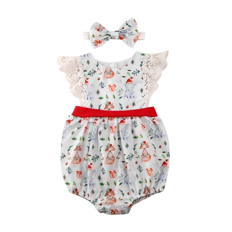 US Newborn Baby Girls Floral Cotton Bodysuit Jumpsuit Headband Outfits 0-24M