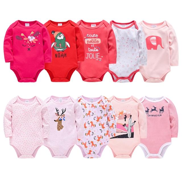 Long Sleeve Bodysuit Baby Girl Clothing 5PCS 3PCS Knitted Cotton New Born Baby Boy Bodysuits Ropa bebe Newborn Clothes Body bebe