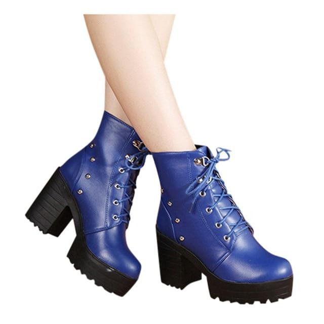 Blue Biker Combat Boots 3