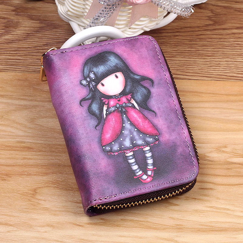 New Fashion Printed Women Card Bag PU Leather Wallet Cartoon Business Card Case Credit Card Holder Girl Mini Zipper Clutch Bag