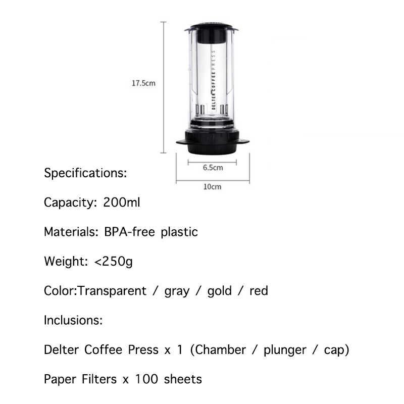 Delter กาแฟเครื่องชงกาแฟกาแฟหยดมือหม้อ Companion สำหรับชงกาแฟแบบพกพากาแฟเครื่อง BPA ฟรี