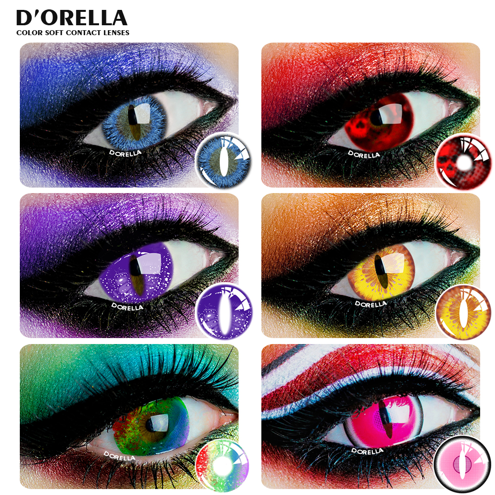 D'ORELLA 1 пара (2 шт.) динозавр цветные контактные линзы Хэллоуин Косплэй контактные линзы сумасшедшие линзы цвет глаз