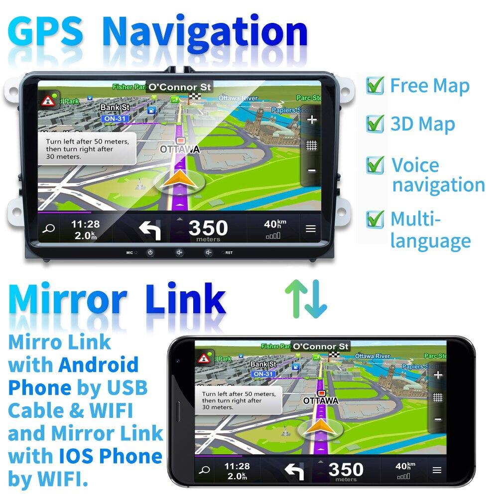 Podofo 9 ''Android 8.1 voiture lecteur multimédia 2 din Autoradio pour VW/Golf/Polo/Tiguan/Passat/Seat/leon/Skoda/Octavia - 3
