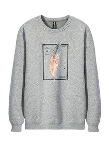Image 2 - Pioneer Camp 100% Baumwolle Dicken Pullover Männer Winter Feder Print Schwarz Grau Outwear Mens Hohe Qualität Kleidung AWY906348