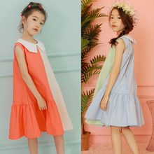 New Kids Dresses for Girls Two Colors Patchwork Children Summer Dress 2020 Cotton Baby Princess Dress Toddler Sundress,#5070