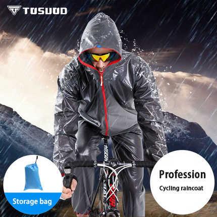 TOSUOD Bersepeda Jas Hujan Jaket Pria Sepeda Gunung Split Poncho Hujan Setelan Celana Wanita Olahraga Luar Ruangan Pakaian