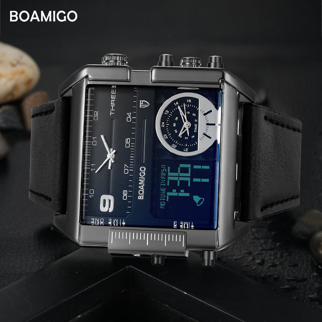 BOAMIGO brand men sports watches 3 time zone big man fashion military LED watch leather quartz wristwatches relogio masculino 2