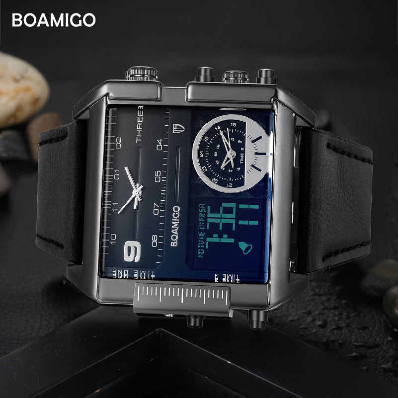 BOAMIGO Brand Menกีฬานาฬิกา3 Time Zone Big Manแฟชั่นทหารLEDนาฬิกาควอตซ์นาฬิกาข้อมือRelogio Masculino