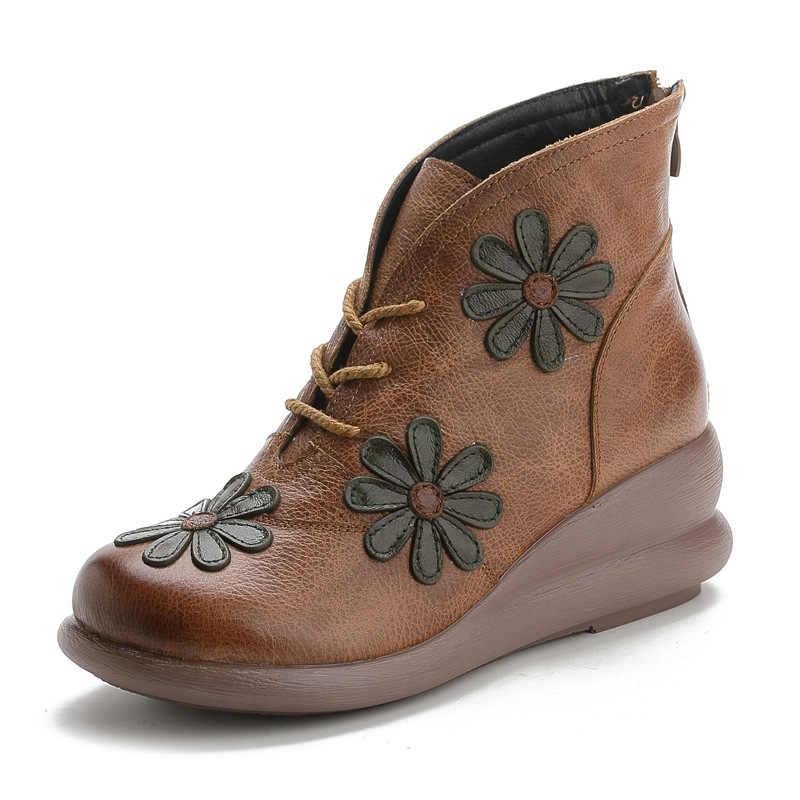 2019 sonbahar ve kış yeni hakiki deri rahat kadın ayakkabısı Vintage çiçek Retro el yapımı kadın yarım çizmeler ile kürk patik