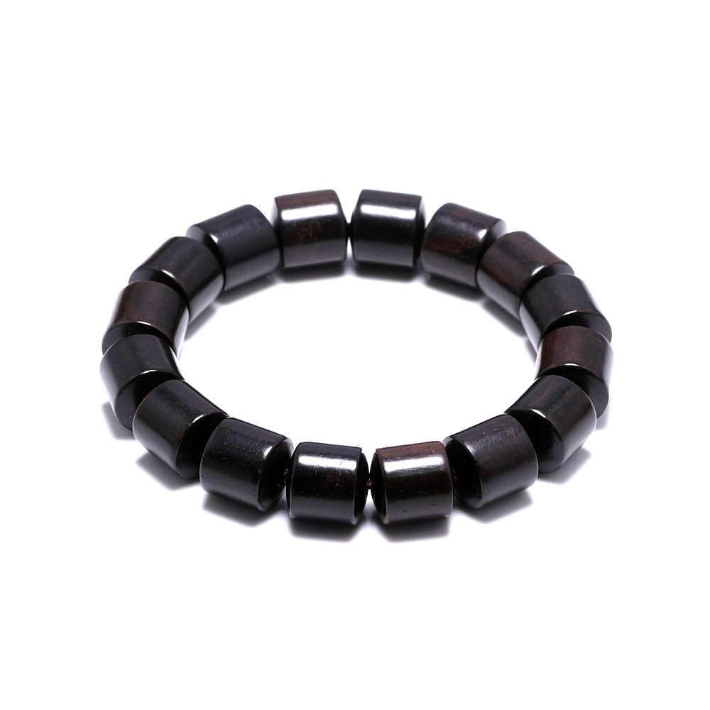 Natural Black Sandal Wood Beads Bracelets For Women And Men Barrel Shape Wooden Beaded Bracelet Buddhism Jewelry