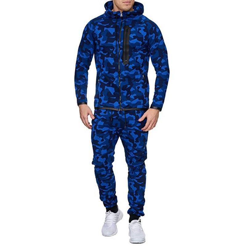 Men 3D Camouflage Print Hooded Zipper Sports Muscle Man Fitness Running Set Sport Suit