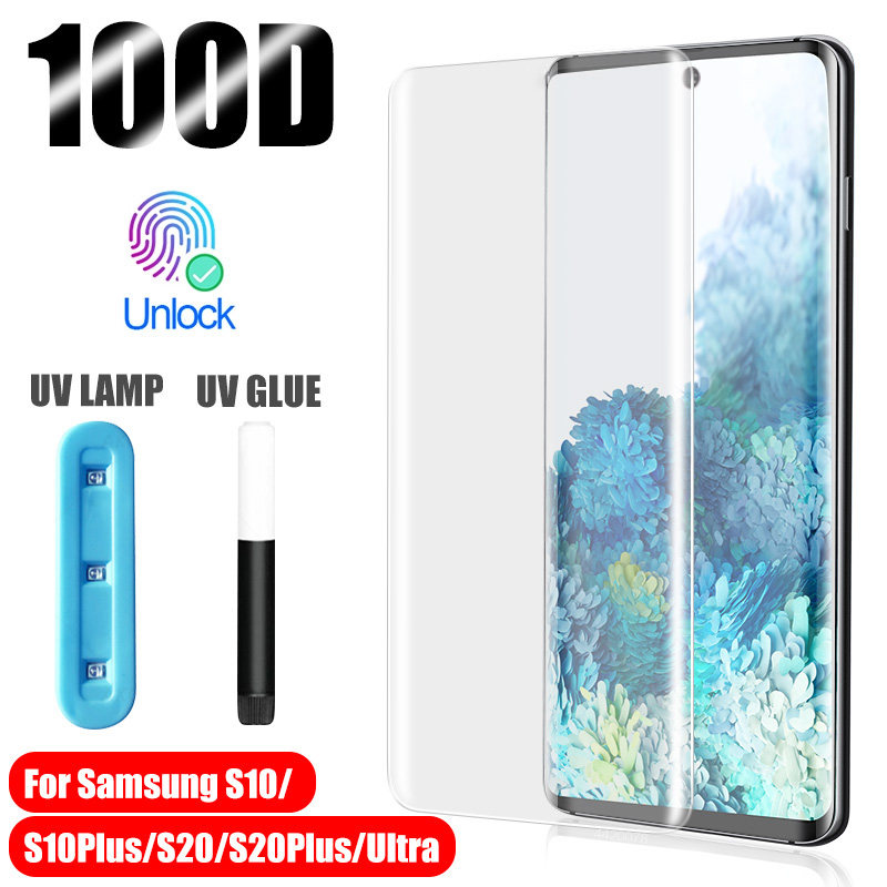 UV Tempered Glass For Samsung Galaxy S10 S20 S8 S9 Plus Ultra Full Liquid Screen Protector For Samsung Note 10 9 plus Glass