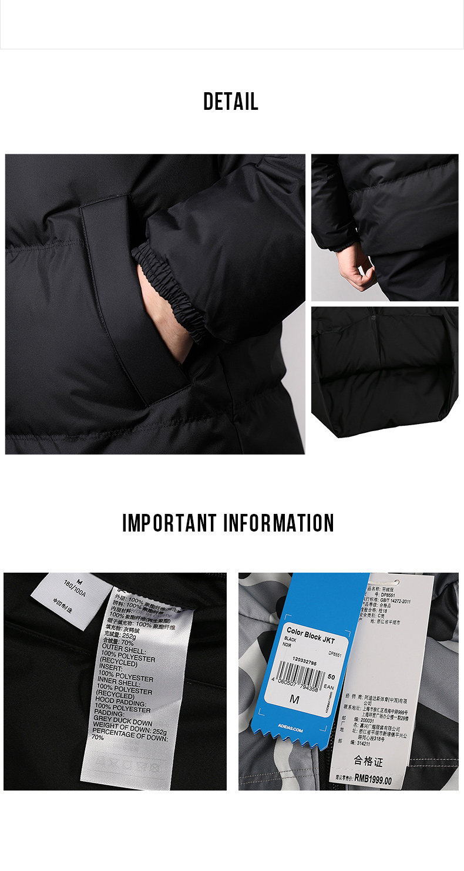 US $231.0 37% OFF|Adidas Neo COLOR BLOCK JKT Mens Black Down Jacket Thick Cot Running Jas Sport Kleding Mannelijke Wind proof Hoodies Jas in Trainning