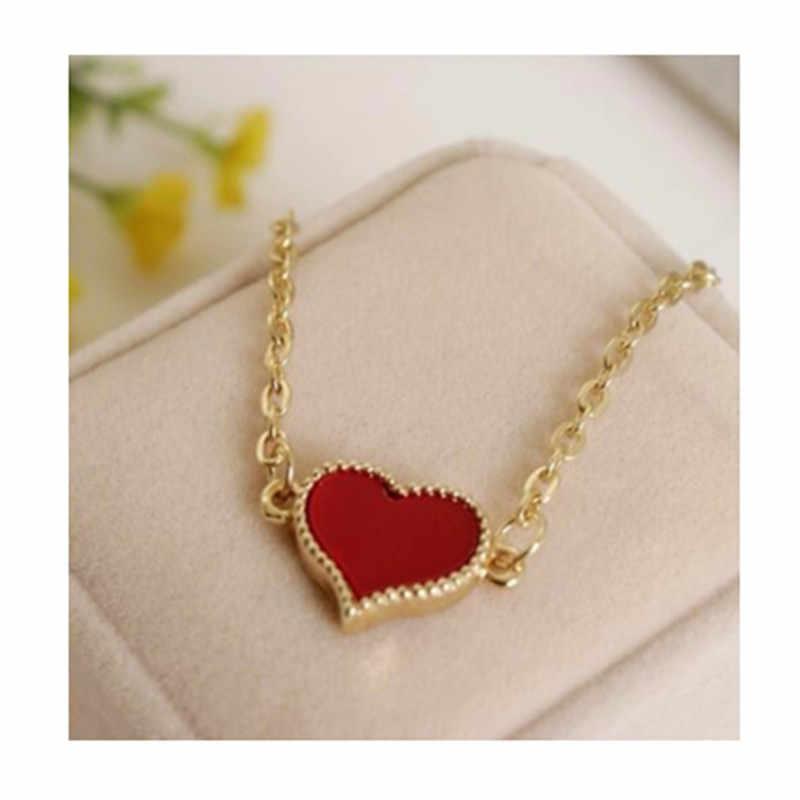 2019 جديد المينا الأحمر القلب القلائد للنساء مجوهرات الذهبي سلسلة المختنق قلادة المرأة القلب قلادة القلائد الإناث الهدايا