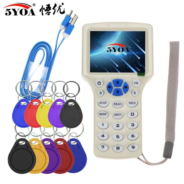 English 10 frequency RFID Copier ID IC Reader Writer copy M1 13.56MHZ encrypted Duplicator Programmer USB NFC UID Tag Key Card