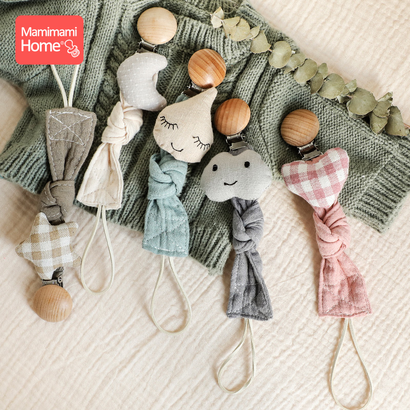 1Pc Baby Dummy Pacifier Clips Chain Plush Animals Cotton  Star Wooden Nipple Holder Nurse Accessories Gifts Stroller Chain Toys