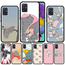 Dumbo Olifant Case Voor Samsung Galaxy A51 A71 A01 A81 A91 A50 A70 A70s M31 Zwart Siliconen Telefoon Cover Fundas(China)