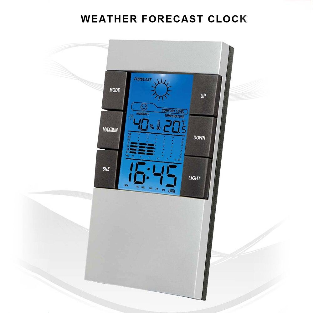 LCD Digital Clock Temperature Humidity Thermometer Home Weather Forecast Alarm Perpetual Calendar Electrical Clock Desk Clocks