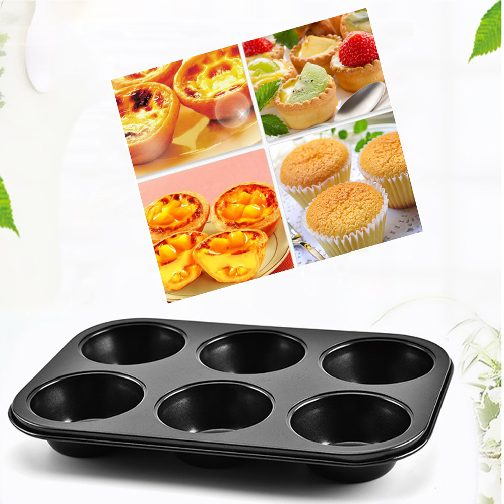 6 Cups DIY Cupcake Baking Tray Tools Non-stick Steel Mold Egg Tart Baking Tray Dish Muffin Cake Mould Round Biscuit Pan