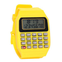 Handheld Pocket Calculator Watch Unsex Silicone Multi-Purpose Date Time kids Electronic Wrist Calculator Watch Exam Tool