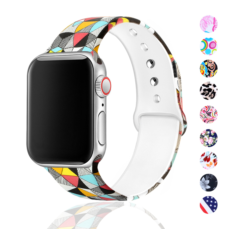 Sport Bands For Apple Watch Band 38mm 40mm 42mm 44mm Flora Pattern Printed Bands For IWatch Band Strap Series 5/4/3/2/1 81023