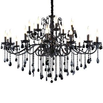 Black crystal chandeliers European living room crystal chandelier American restaurant bedroom retro iron candle lighting lamp