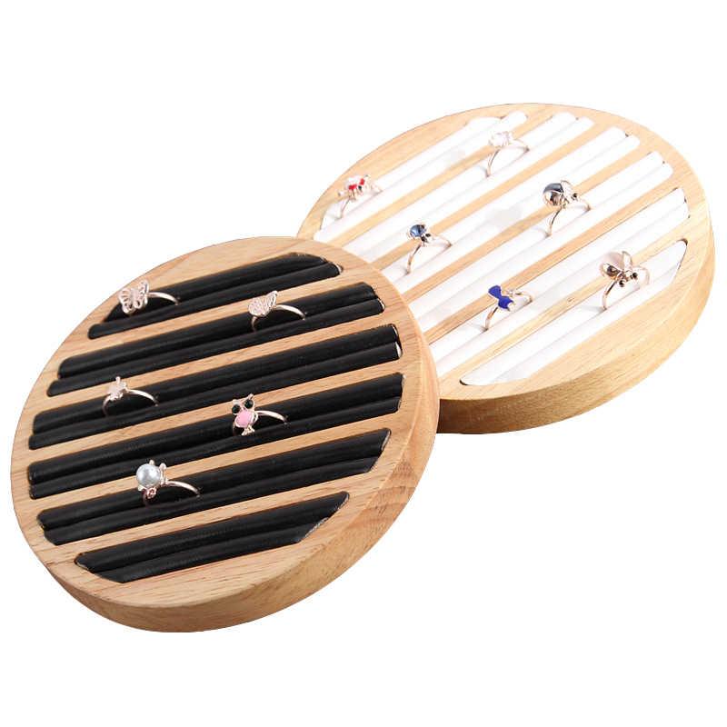 1 Pc bois PU cuir anneaux présentoir plateau boîtier rond Type anneau goujon boucle d'oreille présentoir bijoux organisateur