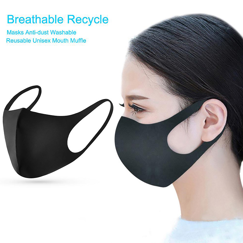 Sponge Pollution Mouth Face Mask Anti Air Dust Smoke With Earloop A Washable Respirator Mask Made For Men Women Kids Black Pink