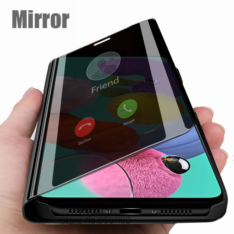 smart mirror phone case for samsung galaxy a51 a71 <font><b>a50s</b></font> a30s a20s stand book cases for <font><b>sansung</b></font> s20 ultra s 20 plus coque <font><b>capa</b></font> image
