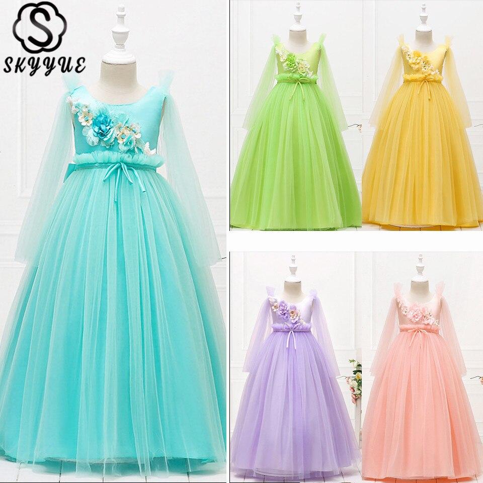Skyyue Sleeveless Kid Party Dress Zipper Wedding Dresses For Girl O-Neck Flower Printing Floor-Length Communion Dress 2019 152