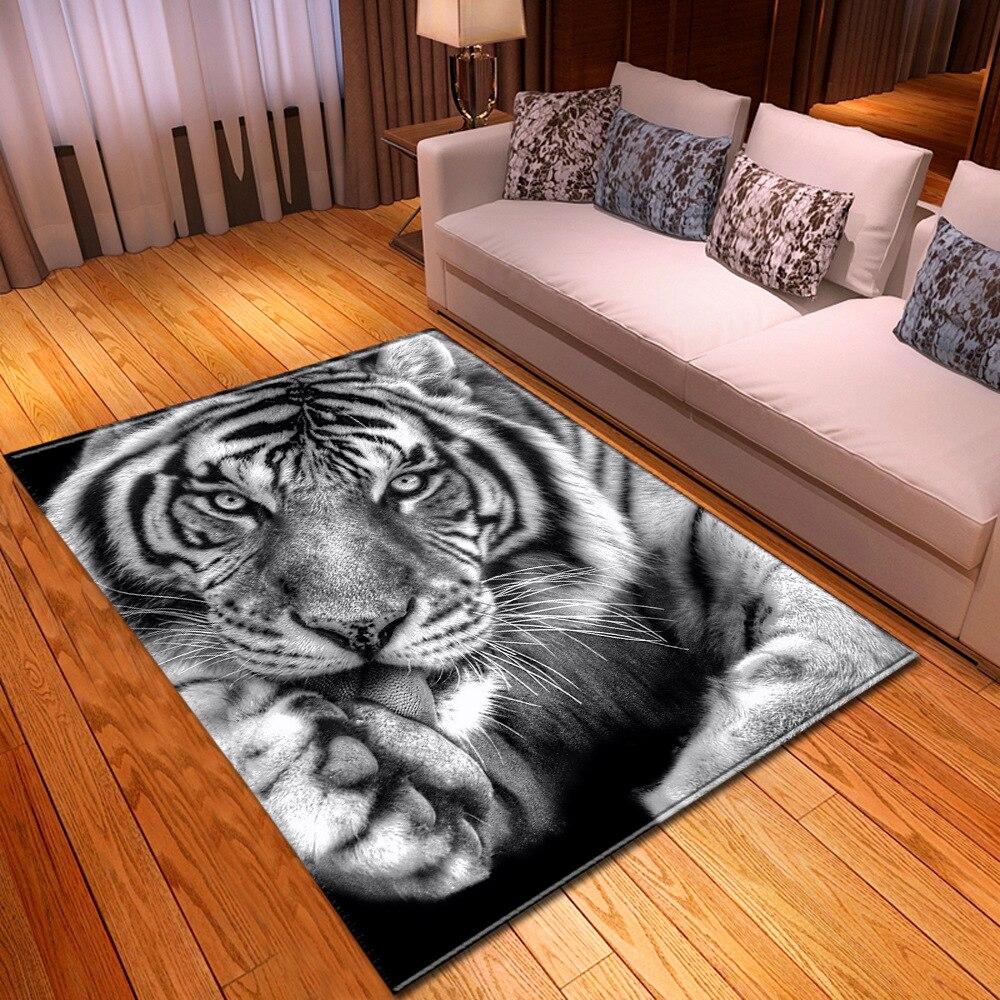 Мультяшный детский тигр лев 3D коврики с принтом для гостиной спальни коврики мягкие фланелевые противоскользящие напольные коврики для по...