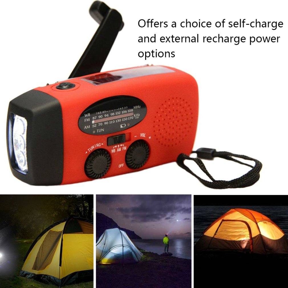3 In 1Protable Emergency Hand Crank Generator Wind Up/Solar/Dynamo Powered FM/AM Radio,Phones Chargers LED Flashlight