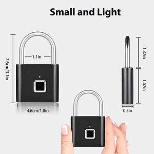 Image 3 - Smart Fingerprint Padlock Lock USB Rechargeable IP65 Waterproof No App Lock indoor and outdoor for Lockers Bags Luggages Storage