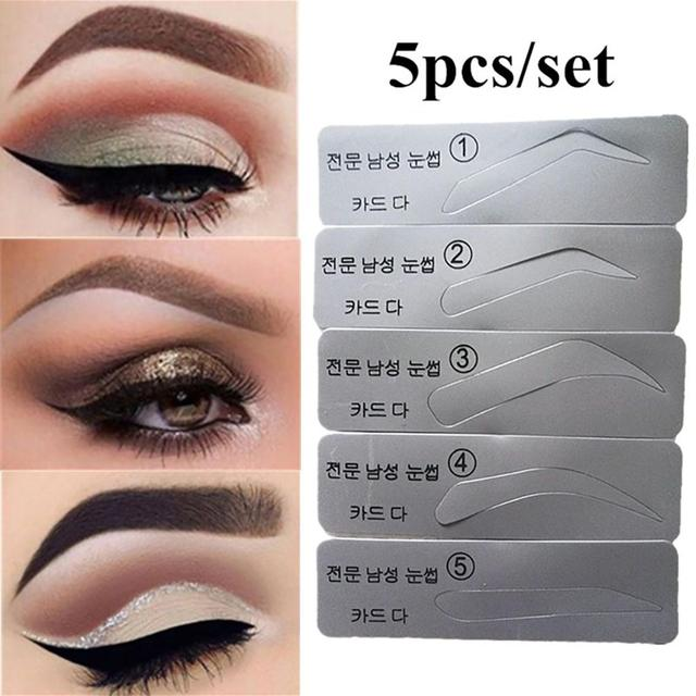 Fashion Unisex 5Pcs Eyebrow Template Stencils Reusable Brow Grooming Card Trimming Shaping Beauty Tool Portable  Eyebrow Makeup