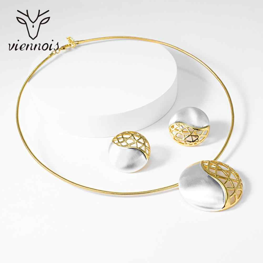 Viennois תכשיטי סט לנשים זהב צבע עגול עיצוב שרשרת Stud עגילי תכשיטי מפלגה