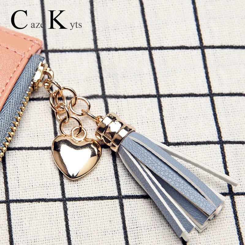 Novas senhoras curto carteira feminina zíper carteira moda fresco versão coreana da grande capacidade borla amor costura bolsas
