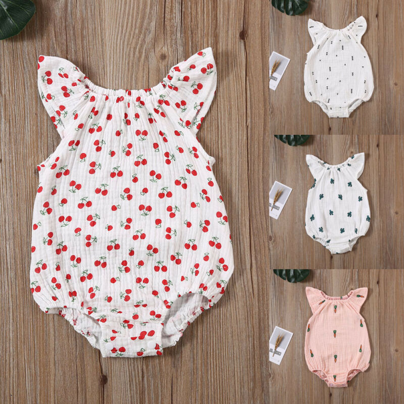 Newborn Infant Baby Giraffe Print Romper Jumpsuit Cotton Bodysuit Outfit Clothes