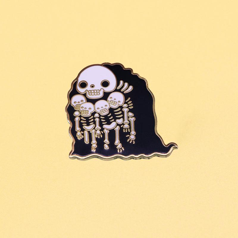 Брошь в виде скелета темной души, эмалированные булавки, металлические булавки в виде надгробия, женские модные ювелирные изделия, подарки, ...